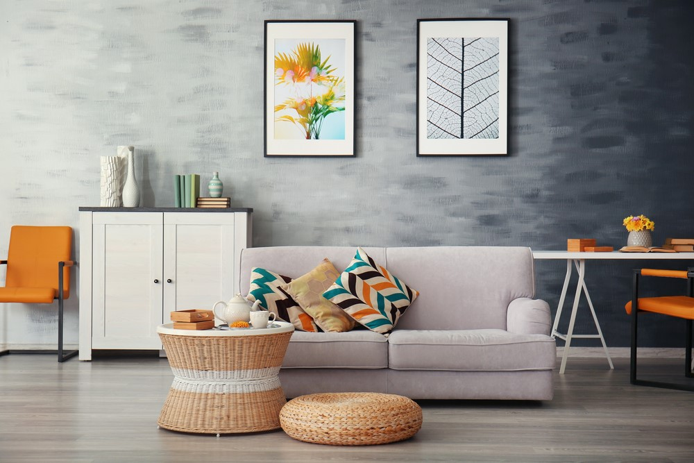 The pillows and chairs perfectly emphasize the colors in the print above.