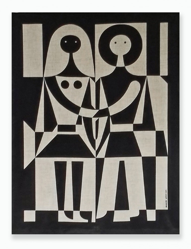 Alexander Girard's Black & White Couple screenprint wall hanging (1972).