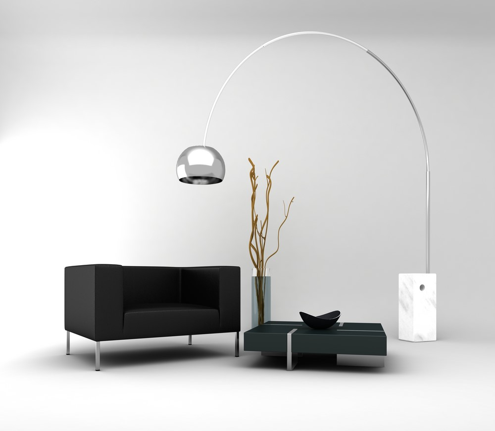 The arc lamp provides abundant light, but dramatic visual appeal and a sense of spaciousness as well.